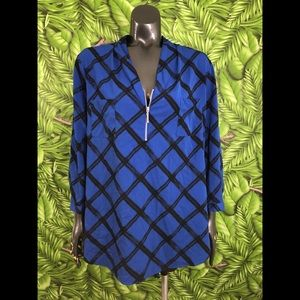 Jaclyn Smith Size XXL Royal Blue Window Pane Top